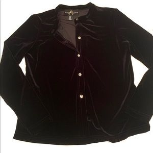 ⚜️Black Velvet Button Down With Rhinestone Buttons